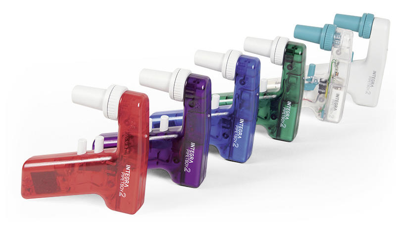 Full range of PIPETBOY acu pipette controllers in all colors