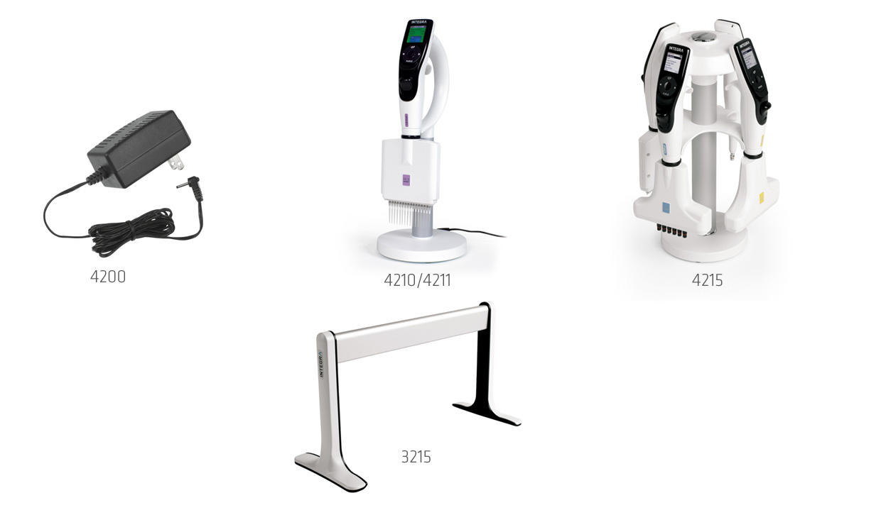 INTEGRA electronic pipettes charging options