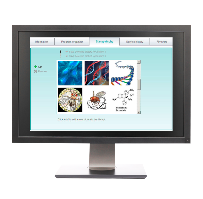 Up to two custom start up screens can be uploaded to the pipette