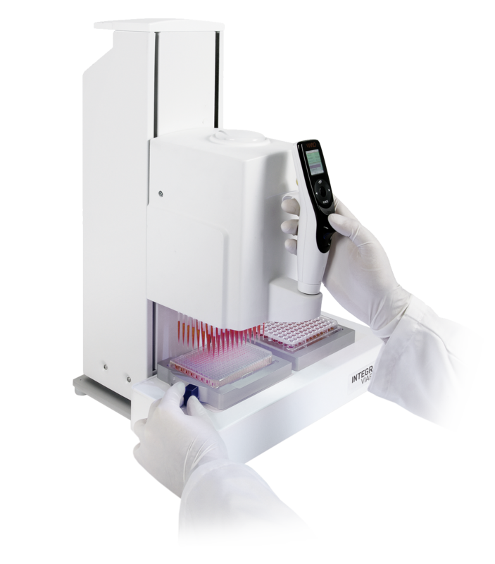 Intuitive handheld operation of VIAFLO 96/384 channel pipette